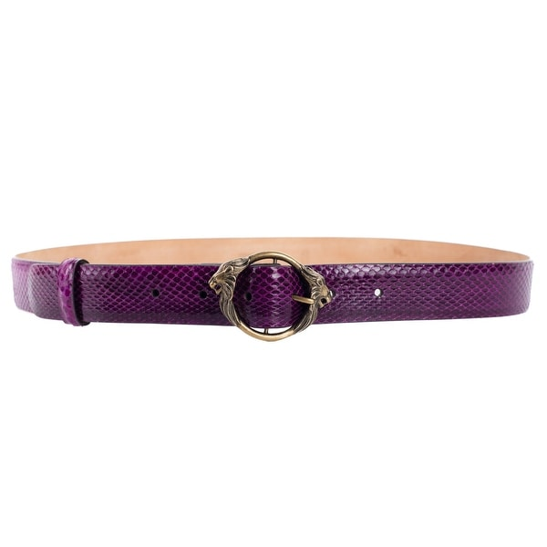 Roberto Cavalli Purple Snakeksin Lion Buckle Leather Belt