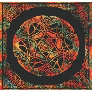 Handmade 100% Cotton Celtic Tie Dye Tapestry Tablecloth Spread Twin 70x104 Amber