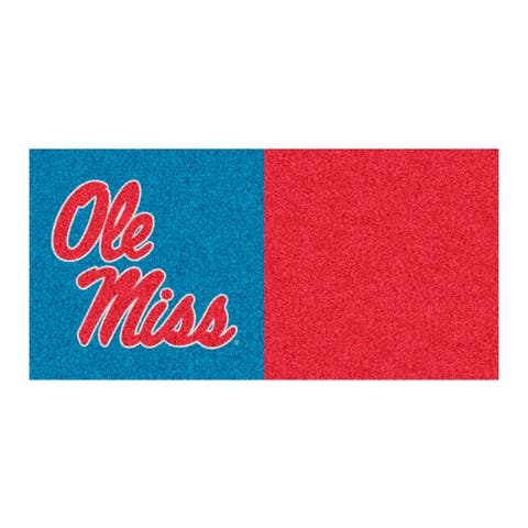 """18"""" Blue and Red NCAA """"Ole Miss"""" Rebels Square Carpet Tiles - N/A"""