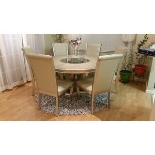 Safavieh Handmade Metro Modern Grey/ White Leather Decorative Shag Rug (6' Round)