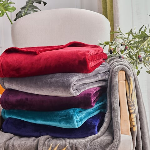 Large Solid Velvet Plush Blanket Throw/Twin/Queen/King Size