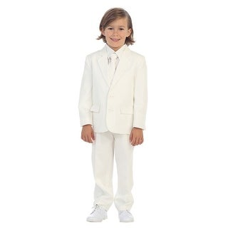 Little Boys Ivory Jewels & Gents Jacket Vest Shirt Tie Pants 5 Pc Suit