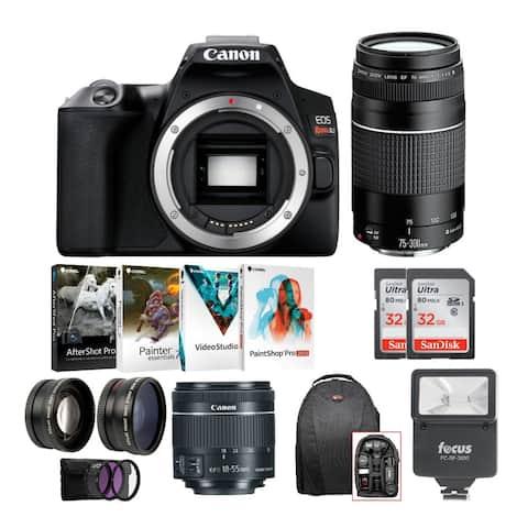 Canon EOS Rebel SL3 DSLR 4K Camera (Black) and 2 Lens Kit