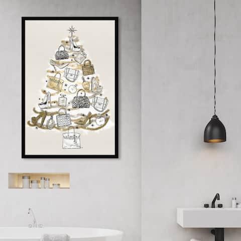 Oliver Gal 'Fashion Christmas' Holiday and Seasonal Framed Wall Art Prints Holidays - Gold, White