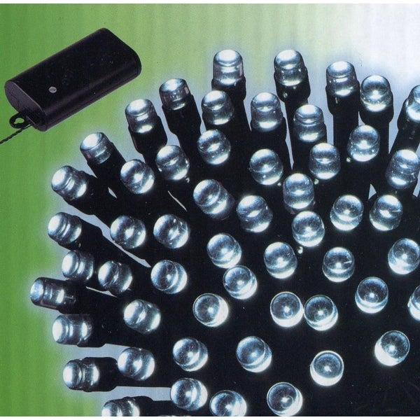 Set of 240 Cool White LED Battery Operated 8-Function Christmas Lights -Blk Wire