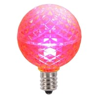Club Pack of 25 LED G40 Pink Faceted Replacement Christmas Light Bulbs