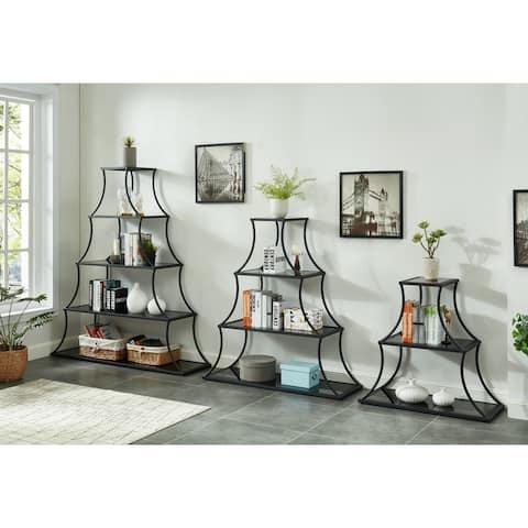Furniture of America Gliny Contemporary Glass Shelves Bookcase