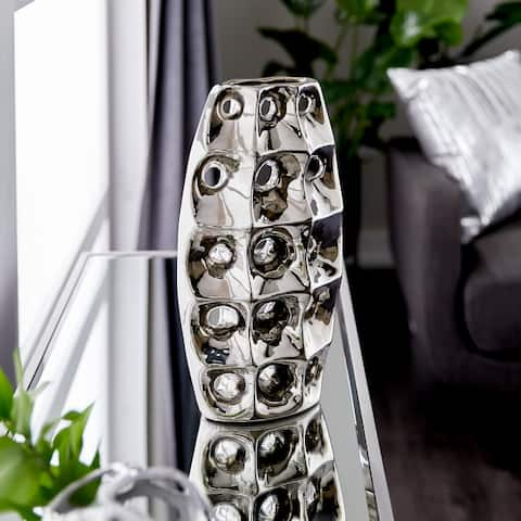 Silver Ceramic Modern Vase, 14 x 8 x 4 - 8 x 4 x 14