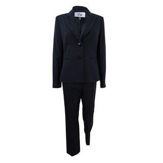 Le Suit Women's Two-Button Pinstriped Pantsuit - Black Multi