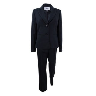 Le Suit Women's Two-Button Pinstriped Pantsuit - Black Multi