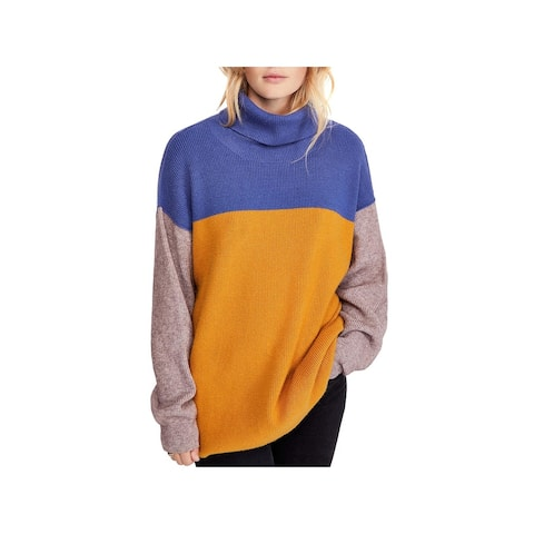 Free People Womens Turtleneck Sweater Ribbed Knit Colorblock