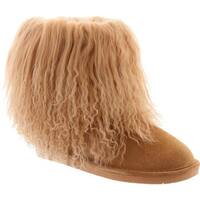 Bearpaw Women's Boo Solids Furry Boot Wheat Curly Lamb Hair/Cow Suede