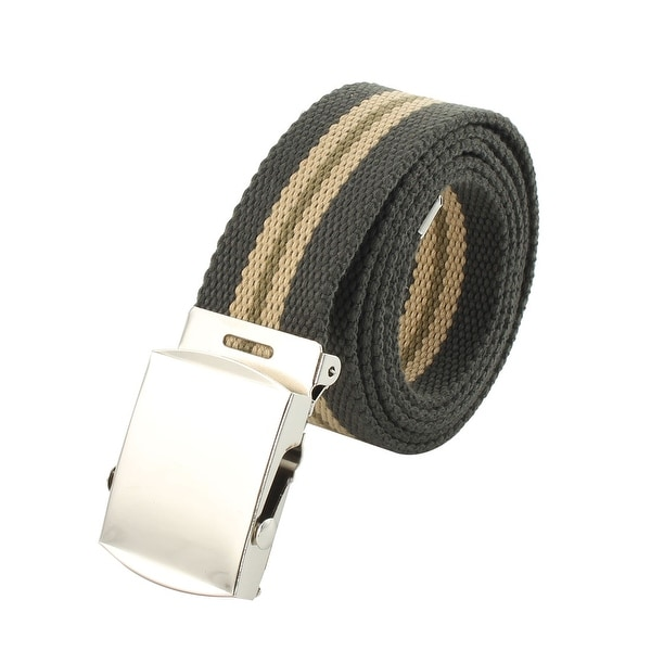 Teenagers Casual Nylon Adjustable Canvas Web Waist Buckle Belt Stripe Green