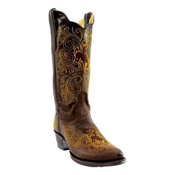 Gameday Boots Womens Wyoming Leather Pointed Embroidered