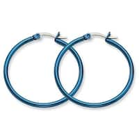 Chisel Stainless Steel Blue 32mm Hoop Earrings
