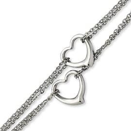Stainless Steel Cutout Hearts 7in Bracelet