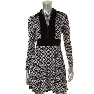 MICHAEL Michael Kors Womens Petites Colorblock Front Zip Wear to Work Dress