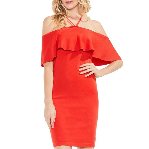 Vince Camuto Womens Party Dress Off The Shoulder Ruffled