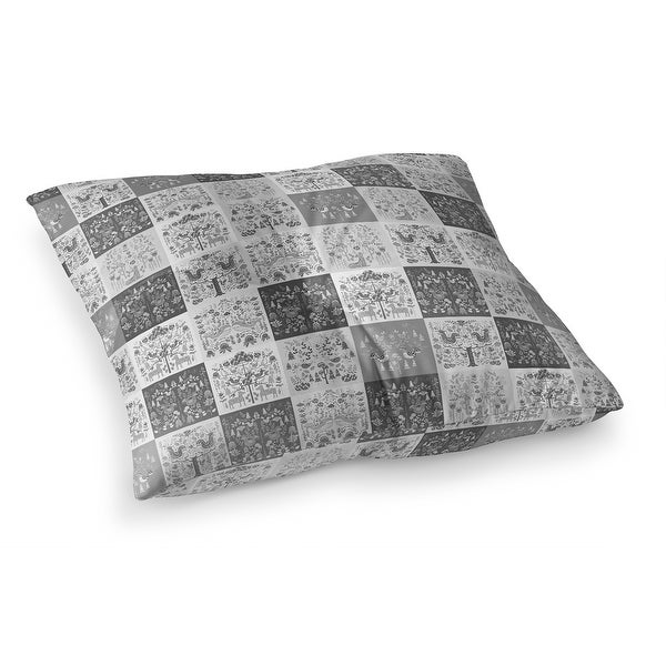 SCANDINAVIAN PATCHWORK GREYSCALE Floor Pillow by Kavka Designs. Opens flyout.