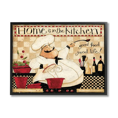 Stupell Industries Home is the Kitchen Phrase Charming Vintage Chef Framed Wall Art
