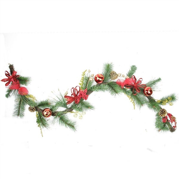 "6' x 10"" Red Burlap and Gold Pinecone Artificial Christmas Garland - Unlit"