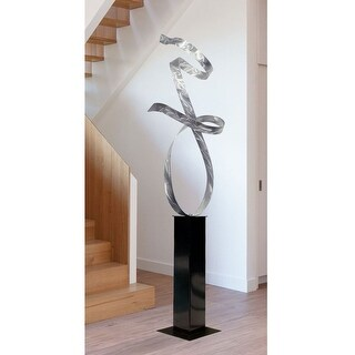 "Statements2000 Large Silver Metal Sculpture Indoor/Outdoor Decor by Jon Allen - Silver Allure 24 - 60"" x 17"" x 12"""