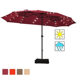 Link to Costway 15Ft Patio Double-Sided Solar LED Market Umbrella Crank Base Similar Items in Patio Umbrellas & Shades