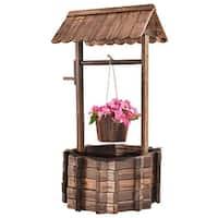 10f8f5530f4 Costway Outdoor Wooden Wishing Well Bucket Flower Plants Planter Patio  Garden Home Decor - Wood