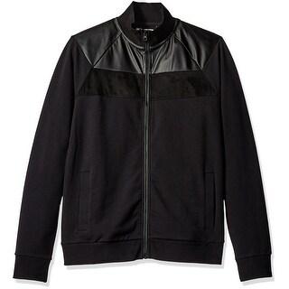 Kenneth Cole NEW Black Mens Size XL Full-Zip Mixed Media Jacket