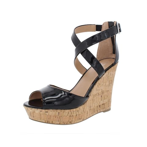 Material Girl Womens Steffy Wedge Sandals Patent Cork