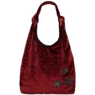 Steve Madden NEW Crushed Velvet Phoenix Wine Red Hobo Handbag Purse