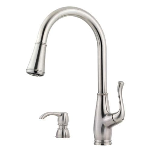 Pfister F 529 7SW Sedgwick Pullout Spray Professional Kitchen Faucet With  Soap Dispenser