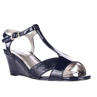 KS35 Sabinaa Peep Toe T-Strap Sandals - Navy