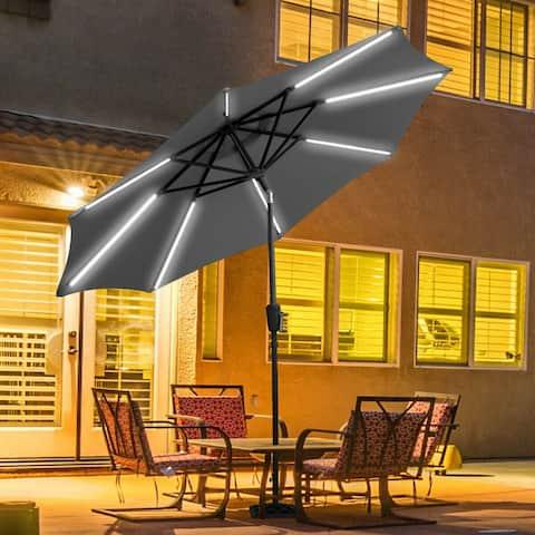 Gymax 9 FT Patio Waterproof Solar Umbrella LED Light Tilt Gray