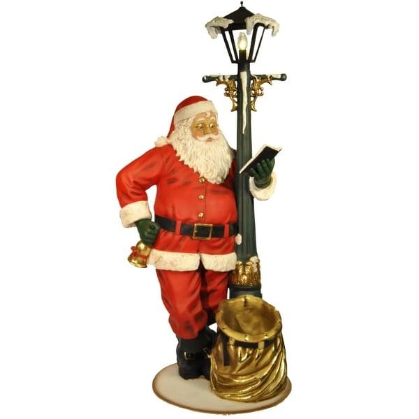 Christmas at Winterland WL-SANTA-LBAG-6.6 6.6 Foot Tall Life Size Santa with Working Lamp Post Indoor / Outdoor