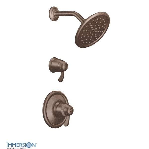 Moen TS3400 Double Handle ExactTemp Thermostatic Shower Trim with Rain Shower Head and Volume Control (Less Valves)