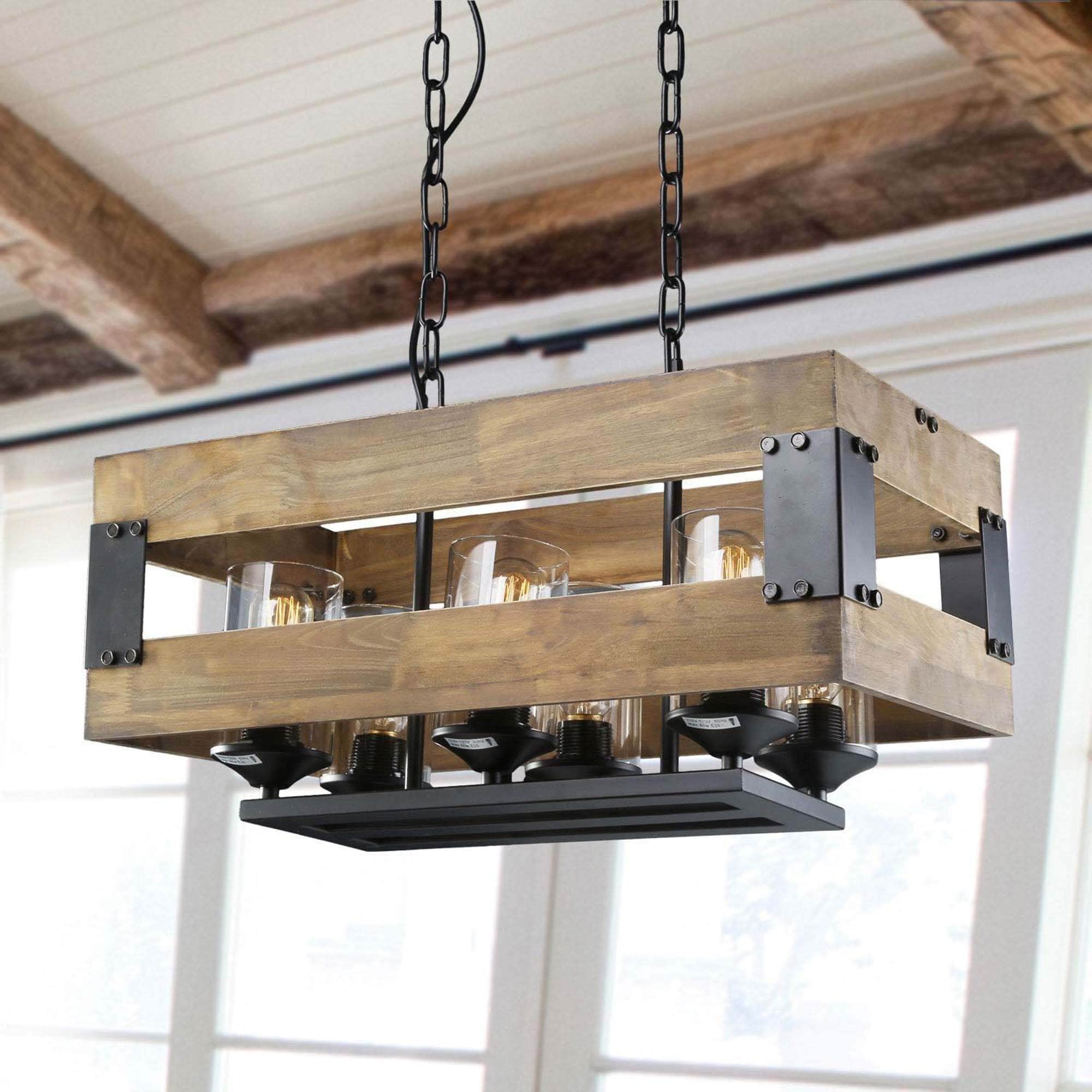 Shop Black Friday Deals On Lnc Farmhouse 6 Light Wood Chandeliers Rustic Kitchen Island Lighting 22 X 11 25 X 11 75 Overstock 25454923