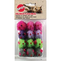 "Colored Plush Mice With Catnip & Rattle 4.5"" 12/Pkg-Assorted"