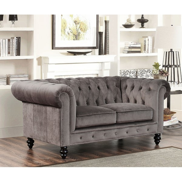 Abbyson Grand Chesterfield Grey Velvet Loveseat