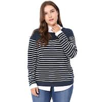 Allegra K  Women's Plus Size Round Neck Long Sleeves Striped T-shirt - Blue