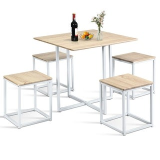 Gymax 5 Piece Dining Table And Chairs Set Metal Legs Compact Space Bar Pub Kitchen - Beige + White