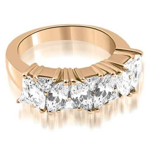 2.60 cttw. 14K Rose Gold Marquise Round and Trillion Cut Diamond Wedding Band