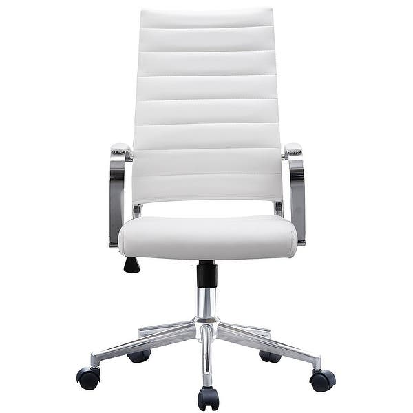 2xhome Set Of Two 2 Modern White High Back Office Chair Ribbed Pu Leather Swivel Tilt Computer Desk Cushion Seat Boss Overstock 15440634