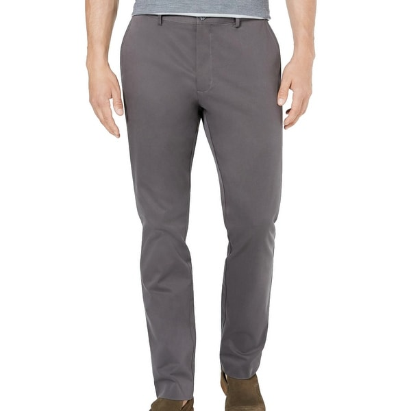 Tasso Elba Mens Chino Pants Kettle Gray Size 38x32 Flat Front Stretch. Opens flyout.
