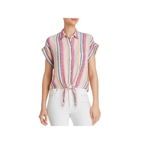 Rails Womens Button-Down Top Tie-Front Striped