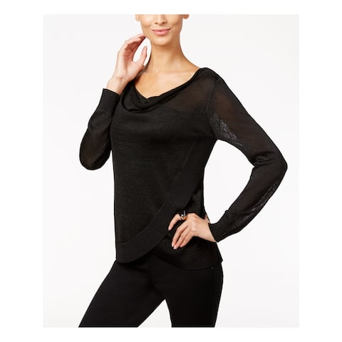 INC Womens Black Long Sleeve Scoop Neck Tiered Sweater Size M