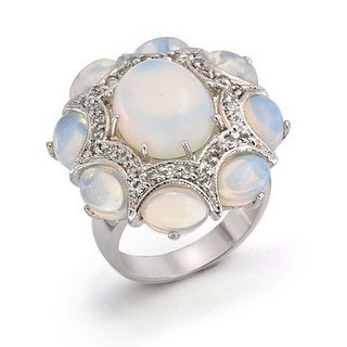 Bling Jewelry Opalite Glass CZ Statement Ring Rhodium Plated - White (4 options available)