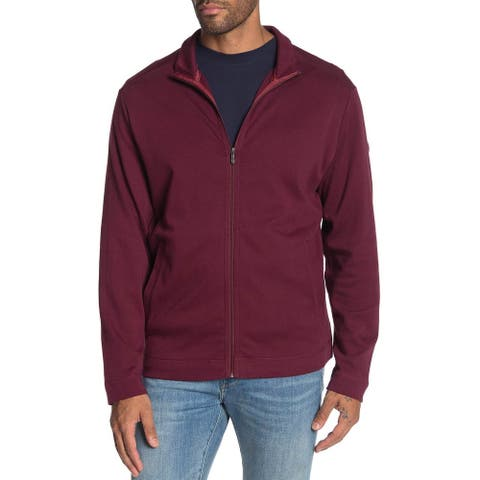 Tommy Bahama Mens Jersey Zip Front Jacket Large Aged Clare Wine Color