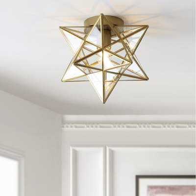 "Stella 12"" Moravian Star Metal/Glass Flush Mount, Gold by JONATHAN Y - 1 Bulb"