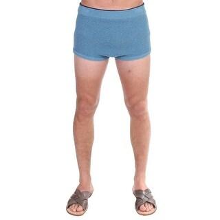 Dolce & Gabbana Blue Cotten Blend Logo Casual Short Shorts